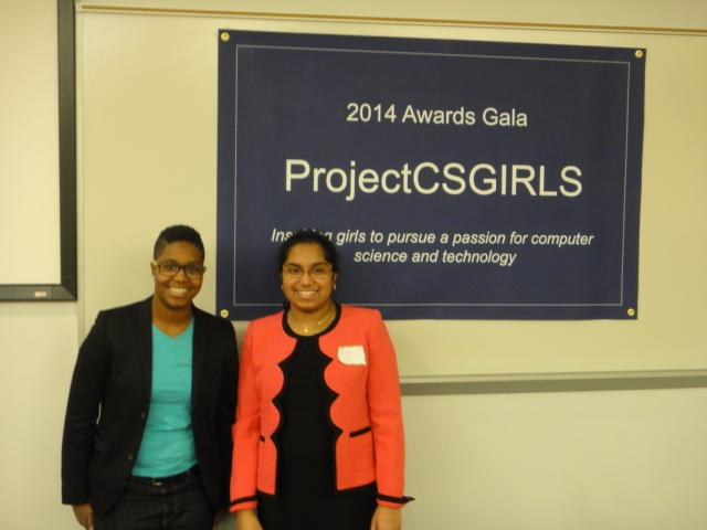 Junior+Pooja+Chandrashekar+%28right%29+stands+with+Courtney+Wallace%2C+Creative+Technologist+at+iStrategyLabs+%28left%29%2C+who+spoke+at+the+2014+Awards+Gala.+Chandrashekar+founded+ProjectCSGIRLS+to+encourage+middle+school+girls+to+explore+their+interests+in+computer+science+and+technology.