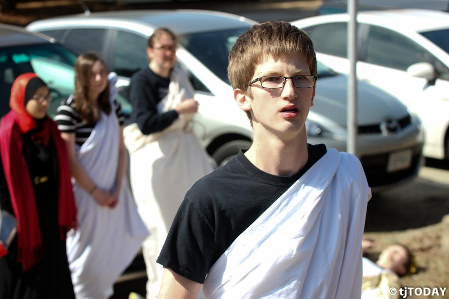 On March 14, senior John Wilkes, portraying Mark Anthony, gives a passionate speech to the Roman citizens following the death of Julius Caesar.