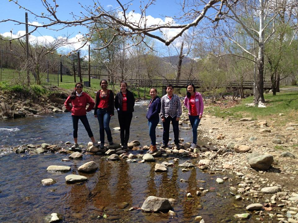 Left to right: sophomore Virginia Sun, junior Teja Sathi and seniors Grace Chuang, Emma Gee, William Woodruff and Karen Xia represented Jefferson at the regional Envirothon competition.