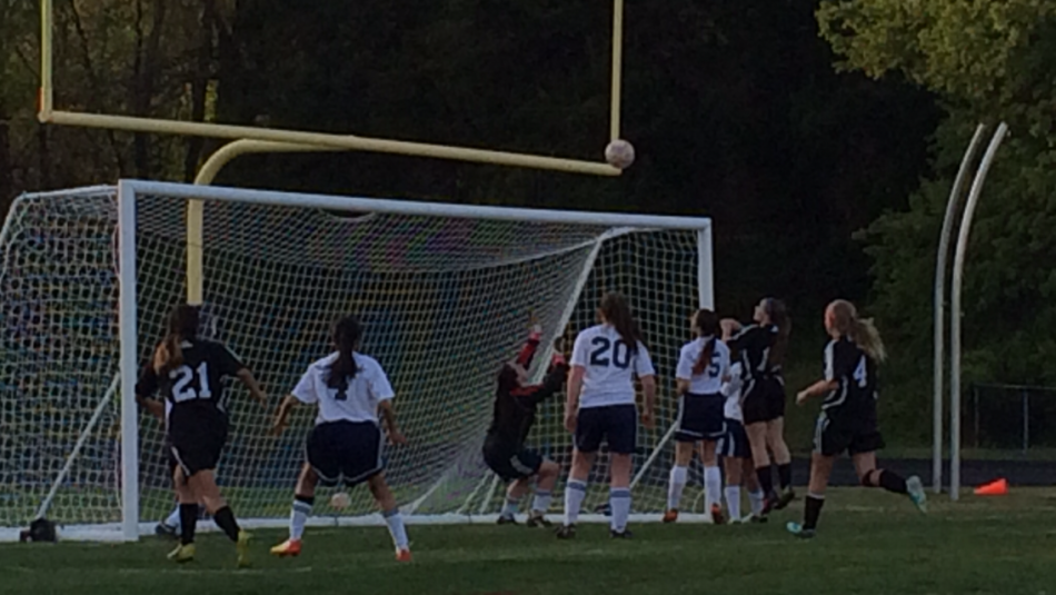 Junior+varsity+goalie%2C+freshman+Raquel+Sequeria%2C+saves+a+shot+from+the+Chantilly+striker.+
