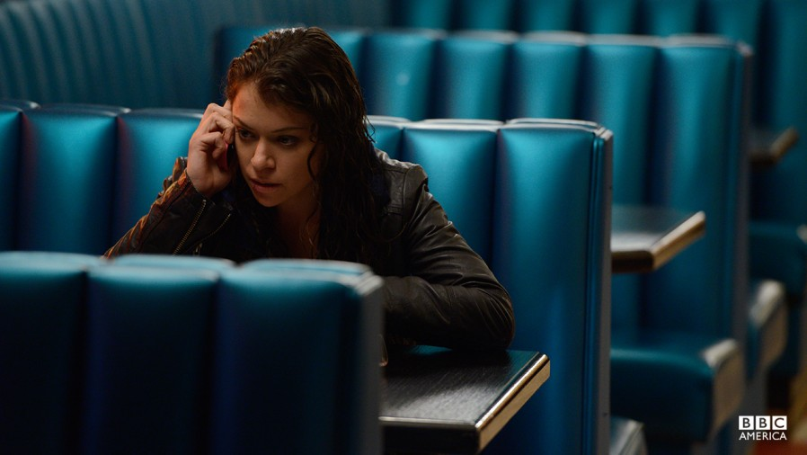 Still of Sarah (Tatiana Maslany) in the season two premiere of