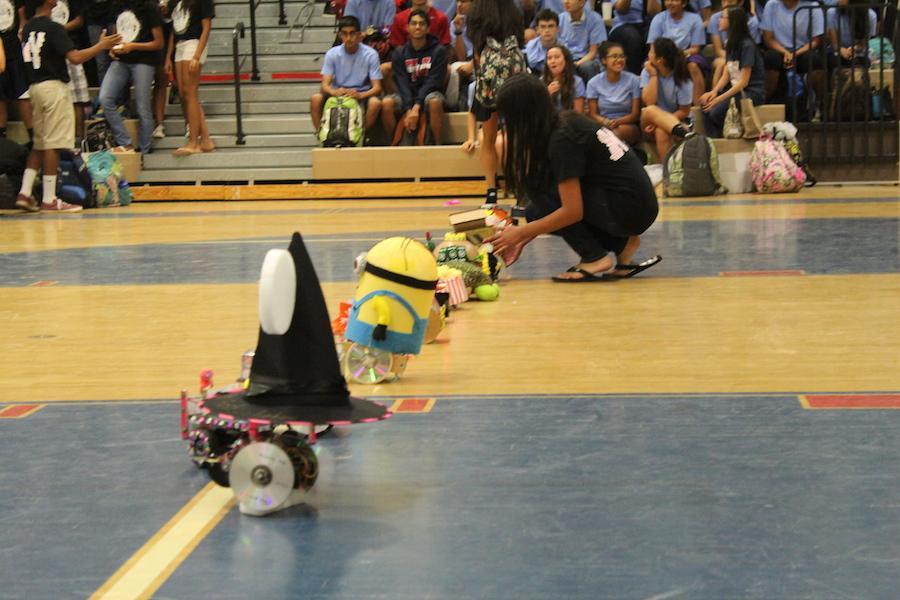 Freshmen designed robots for the BeautyBot category in the robot competition, held May 30.