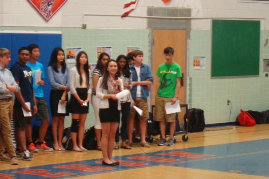 Sophomores+present+their+campaign+speeches+to+their+class+on+June+2+during+eighth+period.