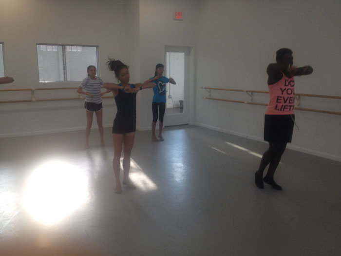 Juniors Jennifer Song and Eke Wokocha practice routines for TJ Dance Team's upcoming season.