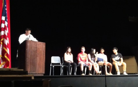 (left to right) Juniors James Park, Sophia Moses, Spencer Weiss, Christina Wei, Kunal Naik and Will Ryu gather on the stage of the auditorium to discuss plans for the upcoming school year with the Class of 2016.