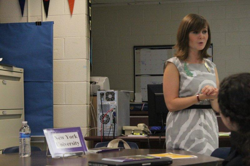 Representative Alana Plaus presented the features of New York University at the College and Career Center on Sept. 19.