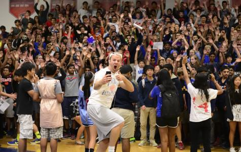 Assistant Principal Scott Campbell spends a day as a Jefferson student and takes a selfie with the Class of 2017.
