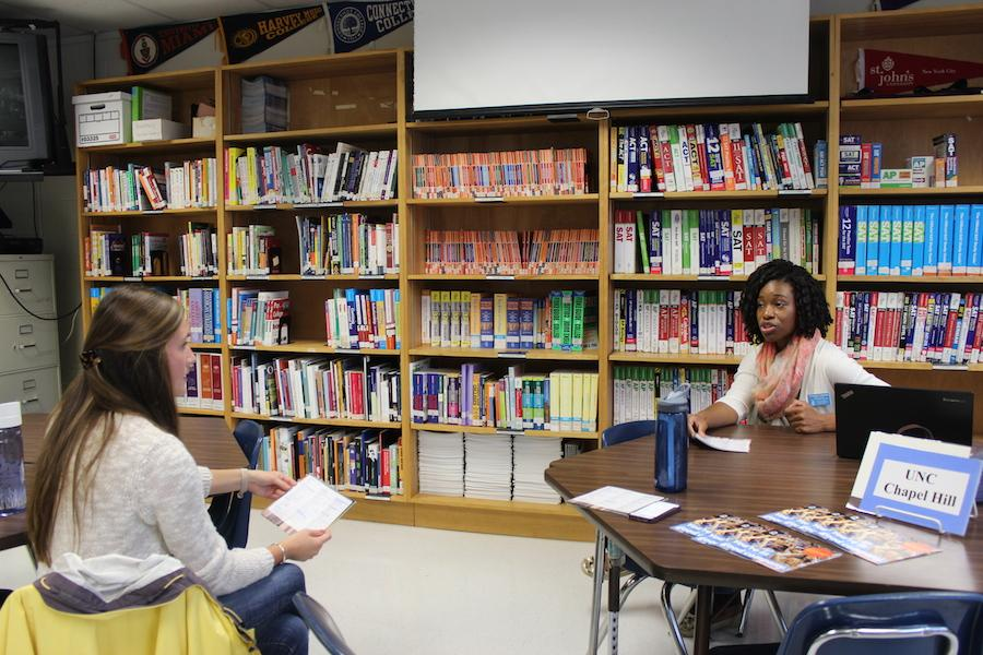 Representative Yolanda Coleman presented the features of the University of North Carolina at Chapel Hill at the College and Career Center on Oct. 22.