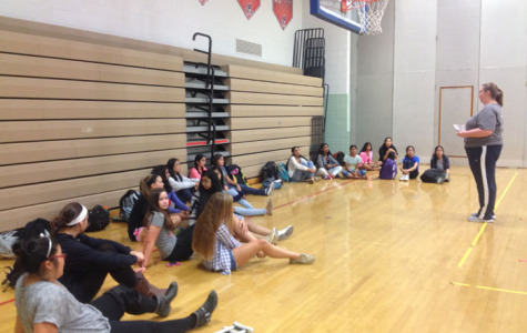 Coach Liz Reed talks to potential players about the upcoming season.