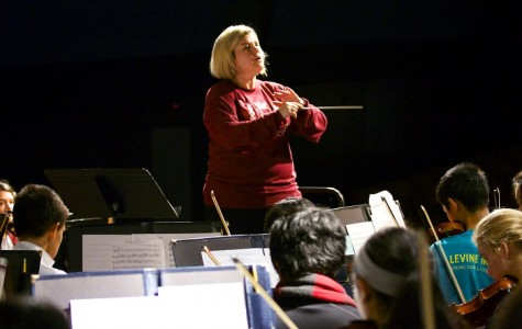 Orchestra director Allison Bailey leads the Symphonic and Harmonic orchestras in the fall concert.