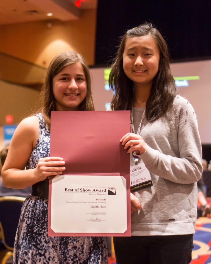 Senior Stav Nachum and junior Esther Kim, staff members of Threshold, picked up Threshold's eighth place award in the NSPA Best of Show contest for literary magazines.
