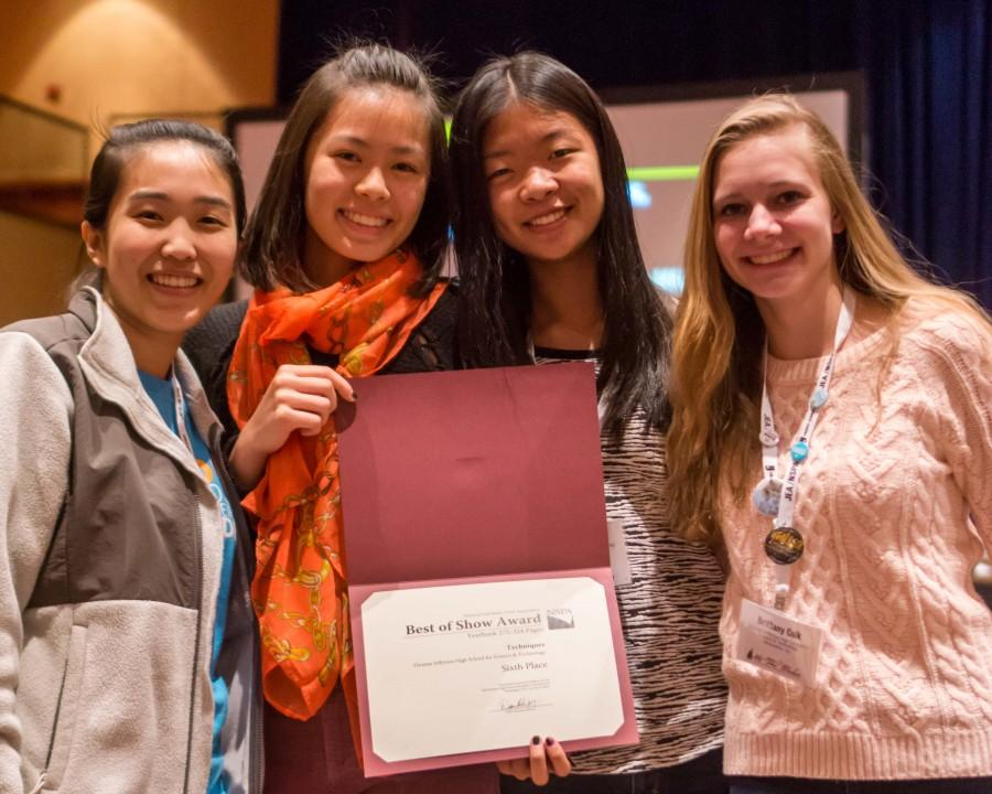 Left to right: Senior Helen Zhang, juniors Valerie Chen and Peng-Peng Liu and sophomore Brittany Czik represented Techniques at the JEA/NSPA convention and collected a sixth place Best of Show award.