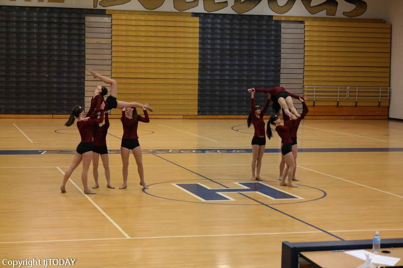 Varsity Dance Team performs their jazz routine to