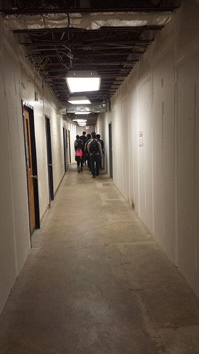 Temporary hallway opens for more access to new sections of main building