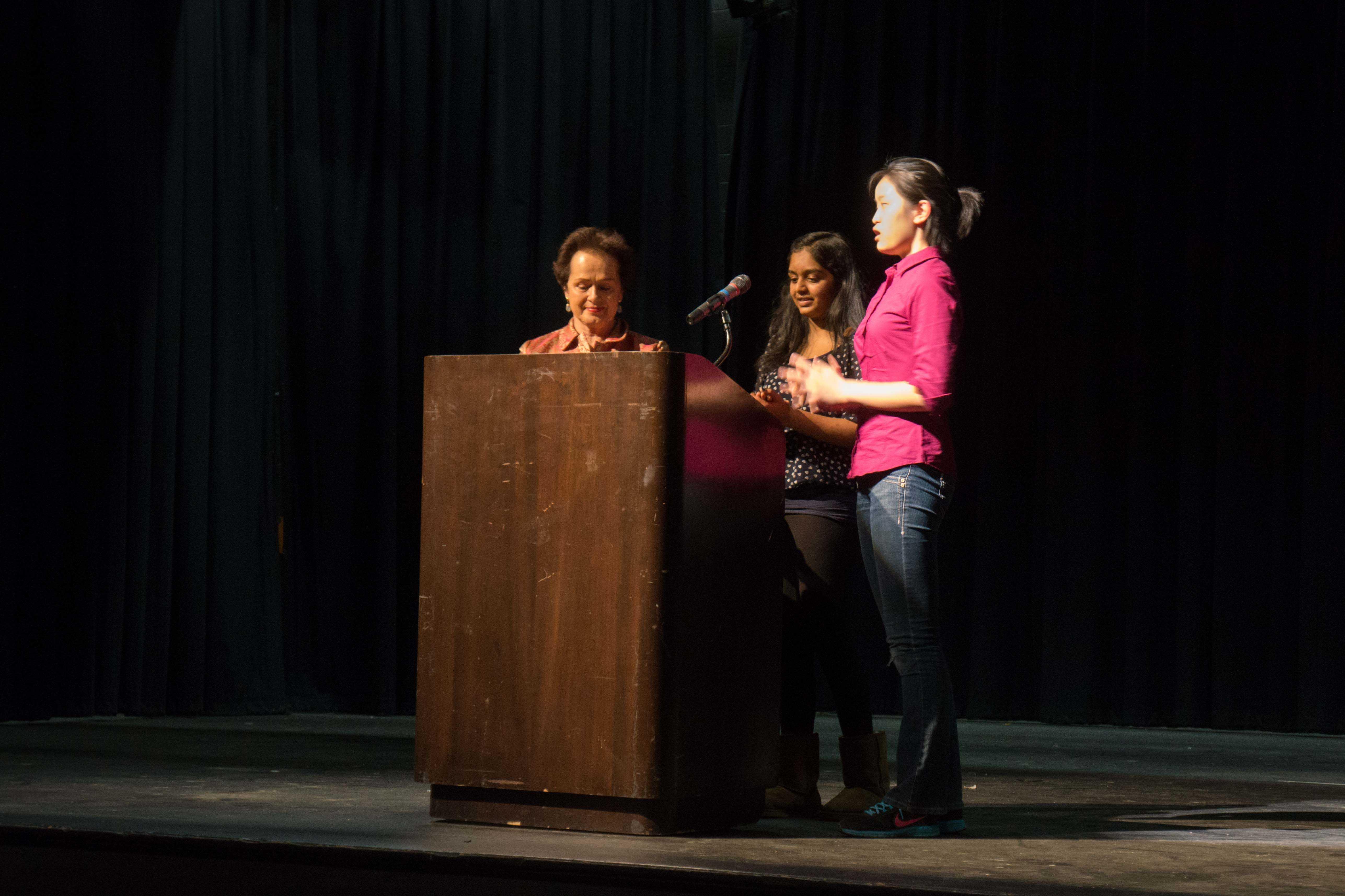Freshman Niharika Vattikonda (center) and junior Wendy Wang (right) thank Ambassador Fritsche (left) for speaking at Jefferson.