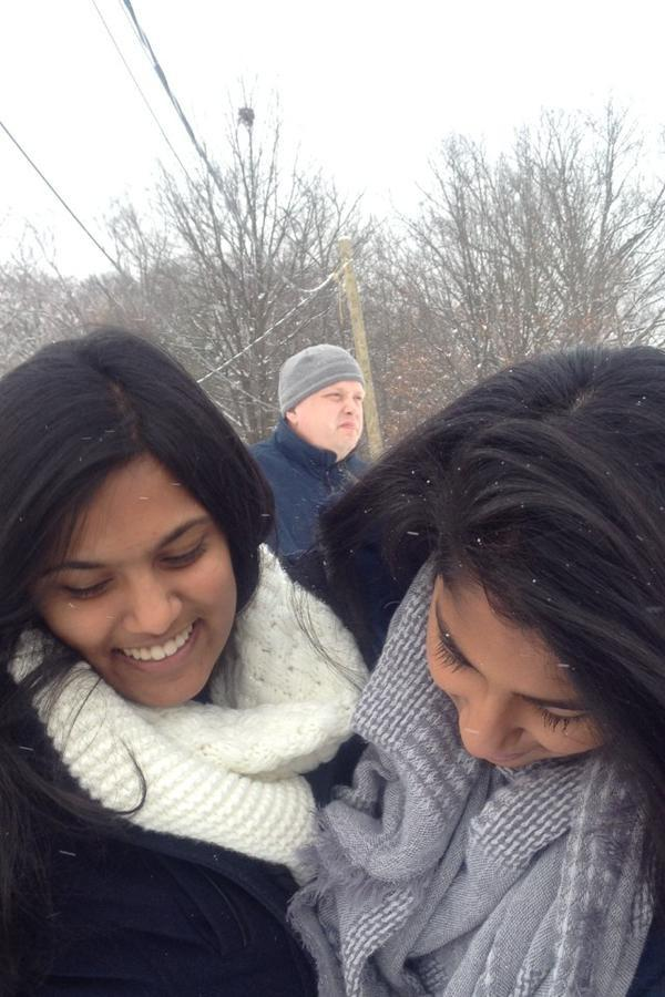 Dr. Smith leads students in snowball fights, and junior Ankitha Yanamandra tweets about it.