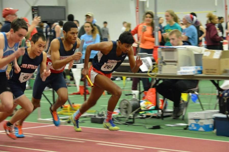 At the Conference 13 Championships, sophomore Saurav Velleleth kicks off the first leg of the boys' 4x800 relay.