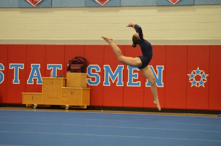 Freshman Emily Everhart completes her floor routine at the National Conference Tournament