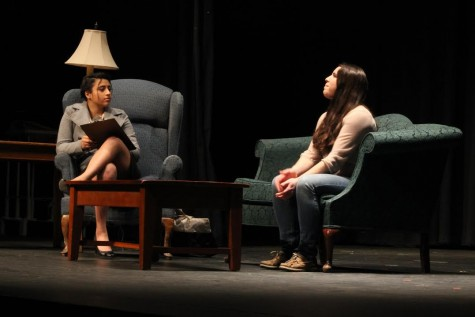 "Sophomores Zara Batalvi and Raquel Sequeira perform in ""Absent,"" written and directed by junior Abby Peterson."