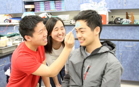 Junior Andrew Huang draws a blue arrow on senior Tim Cha's head as senior Joo Kang looks on during chemistry teacher Robin Taylor's