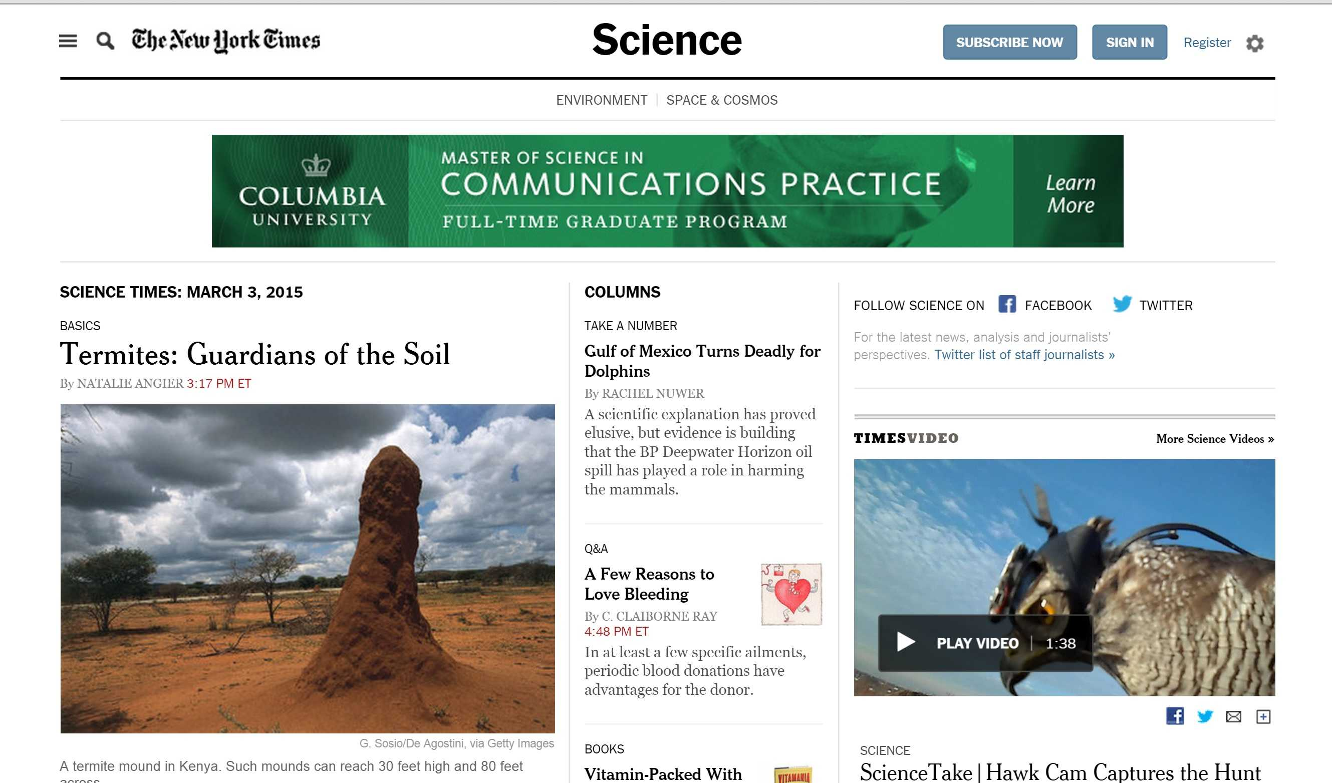The New York Times' science page is just one example of the overlaps between journalism and STEM topics.