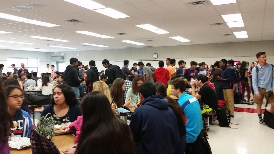 On April 7, students eat in the newly renovated cafeteria.