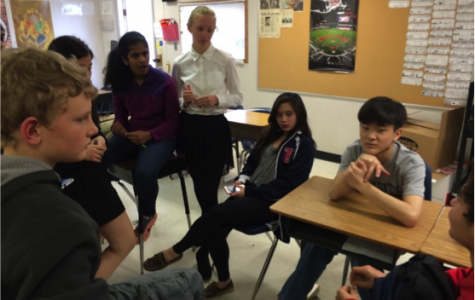 Class Council and other Class of 2018 students meet to discuss Lock-Up after spring break.