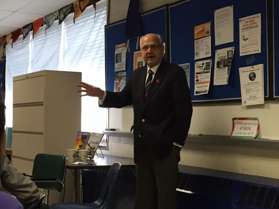 Mike Moore, the New Zealand ambassador to the U. S, addresses a group of Jefferson students about New Zealand and its relationship to the  U. S.