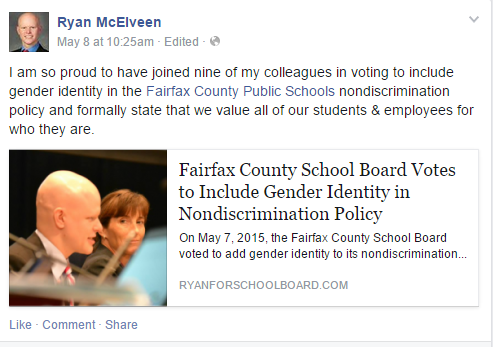 FCPS School Board Member Ryan McElveen headed the initiative to add gender identity to the nondiscrimination policy.
