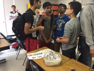 Freshmen Viraj Curry, Akshith Peyyala, Karthik Budharaju and Kyle Gerner celebrate at Break the Silence party