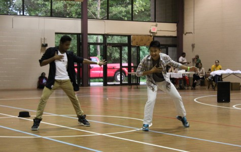 Freshmen Anthony Thomas and Sean Ji perform breakdance, street dance and Bhangra through their lock-up talent show performance in the Audrey Moore RECenter on May 15.