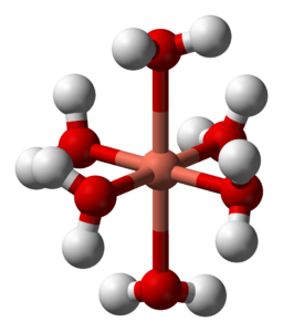 Hexaaquacopper(II) complex is a molecule that has been tetragonally distorted by the Jahn-Teller Effect, as can be seen in its ball and stick model.
