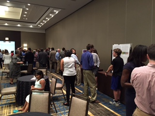 Attendees peruse senior research projects