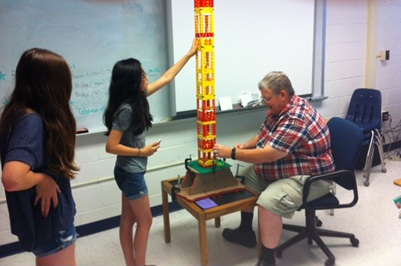 Last year, students worked on building a tower as a design challenge for one of the programs in the MSTI