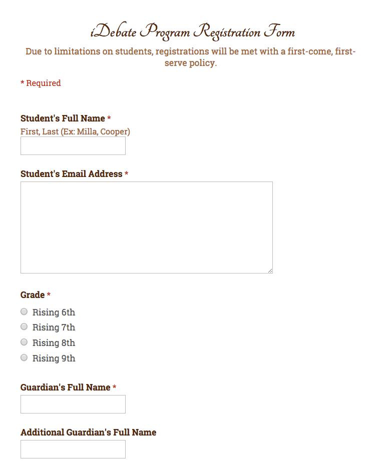 inspireDebate Registration Form