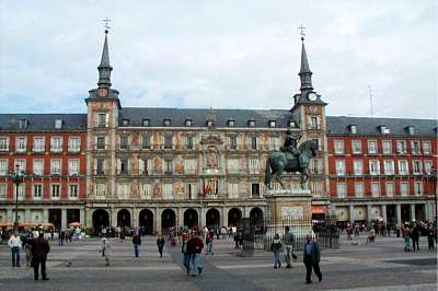 La Plaza Mayor is one of the most famous and popular landmarks in Madrid, Spain.