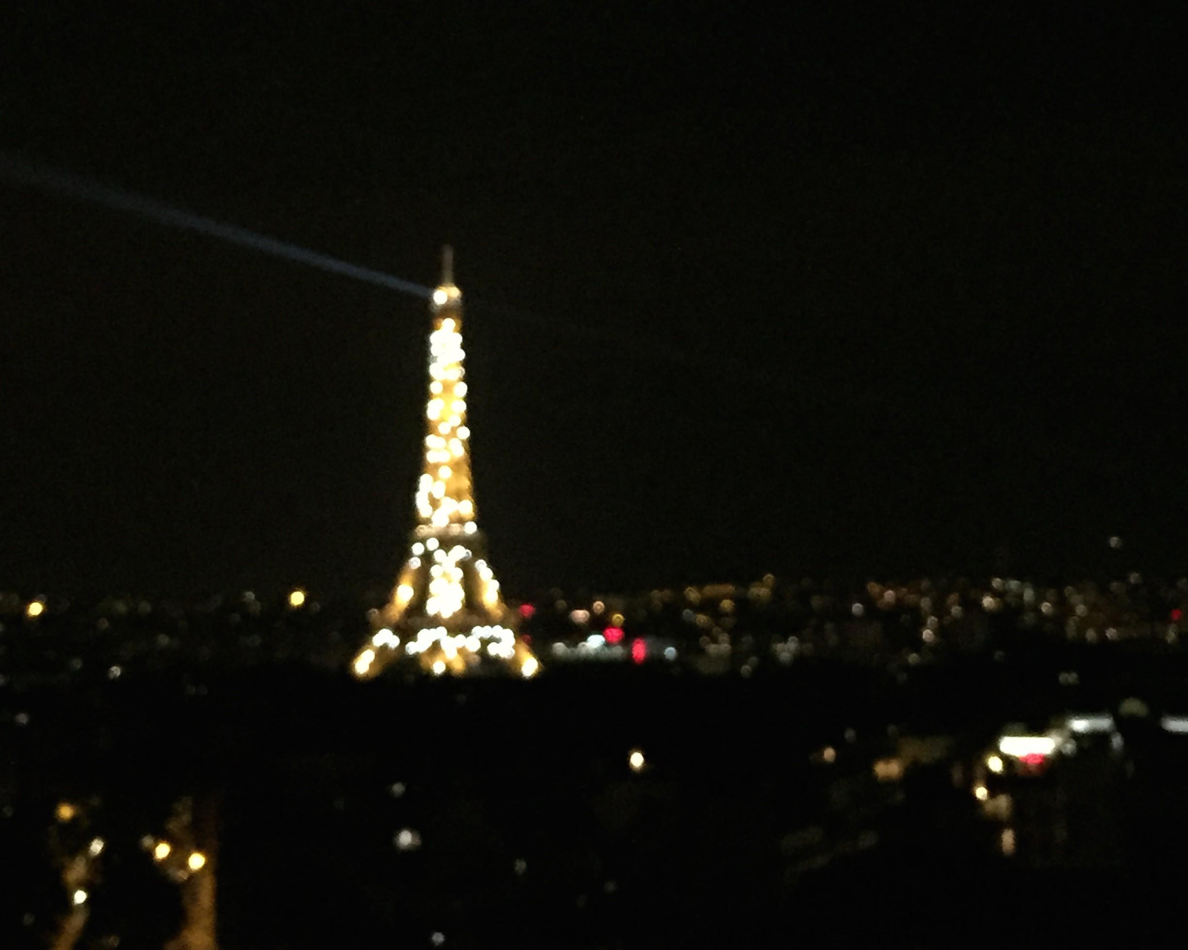 The Eiffel Tower lights up in Paris when the sky turns dark.