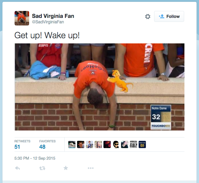 Memes of UVa student Michael Bunting's reaction of his school football team's loss to Notre Dame are now viral on social media.