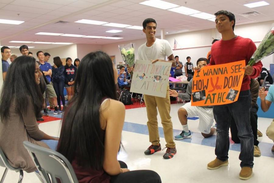 Seniors Sruthi Kodali and Ananya Suri are asked to homecoming by seniors Nikhil Ramachandran and Srikar Kosuri, respectively, with humorous posters.