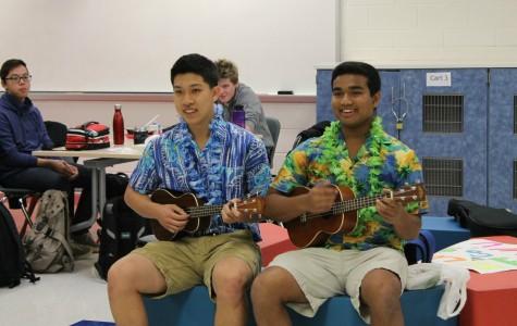 Seniors Calvin Chen and Akash Raju sing a parody of