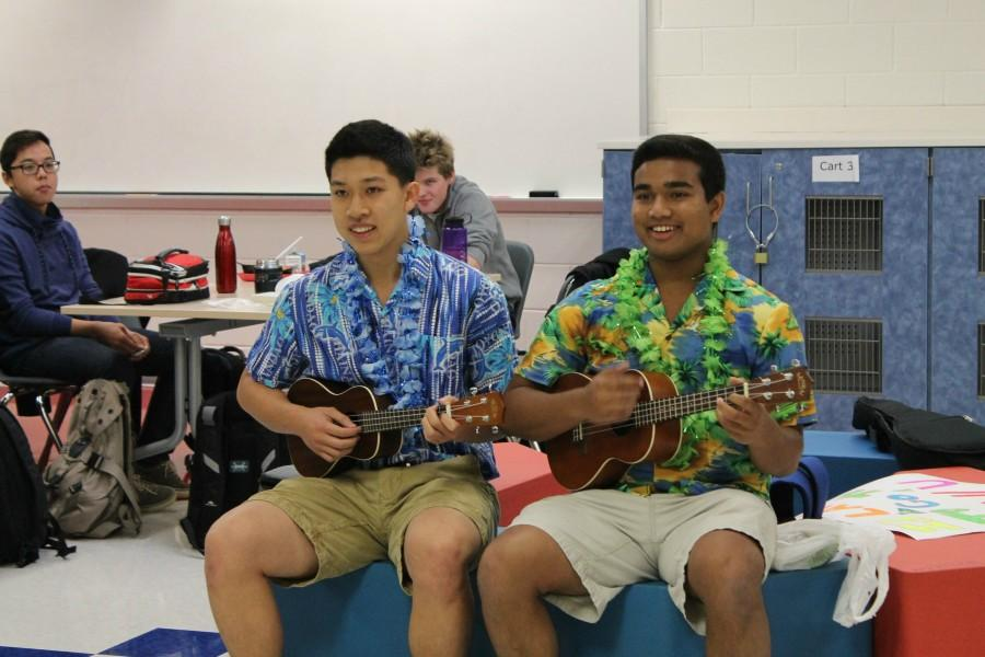 Seniors Calvin Chen and Akash Raju sing a parody of