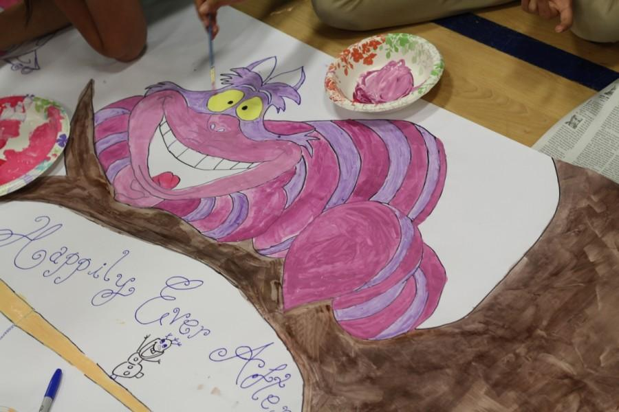 Juniors paint the Cheshire Cat from