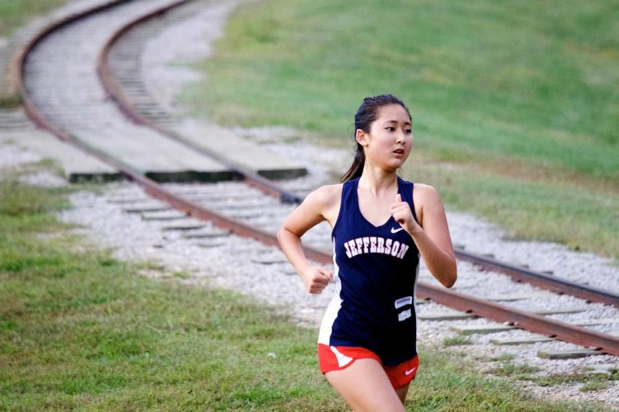 Cross+country+runner+Sarah+Kim+runs+in+a+race+for+the+last+time+in+her+Jefferson+career.+
