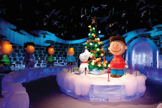 Charlie Brown was featured in the 2010 ICE! exhibit in Texas, along with several other holiday themed characters