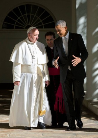 Pope Francis meets with the president during his visit to the U.S. in September.