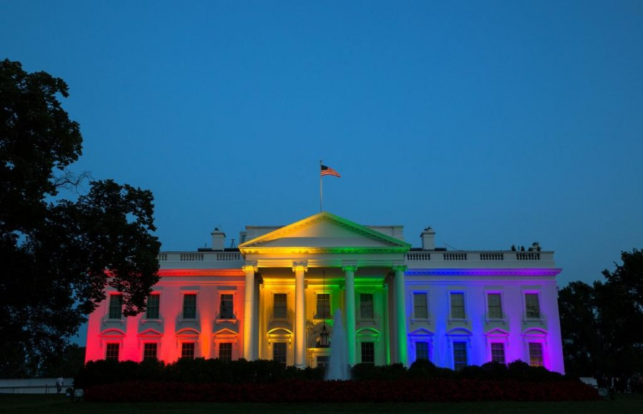 In honor of the 5-4 ruling in favor of same-sex marriage the White House was illuminated in rainbow colors.