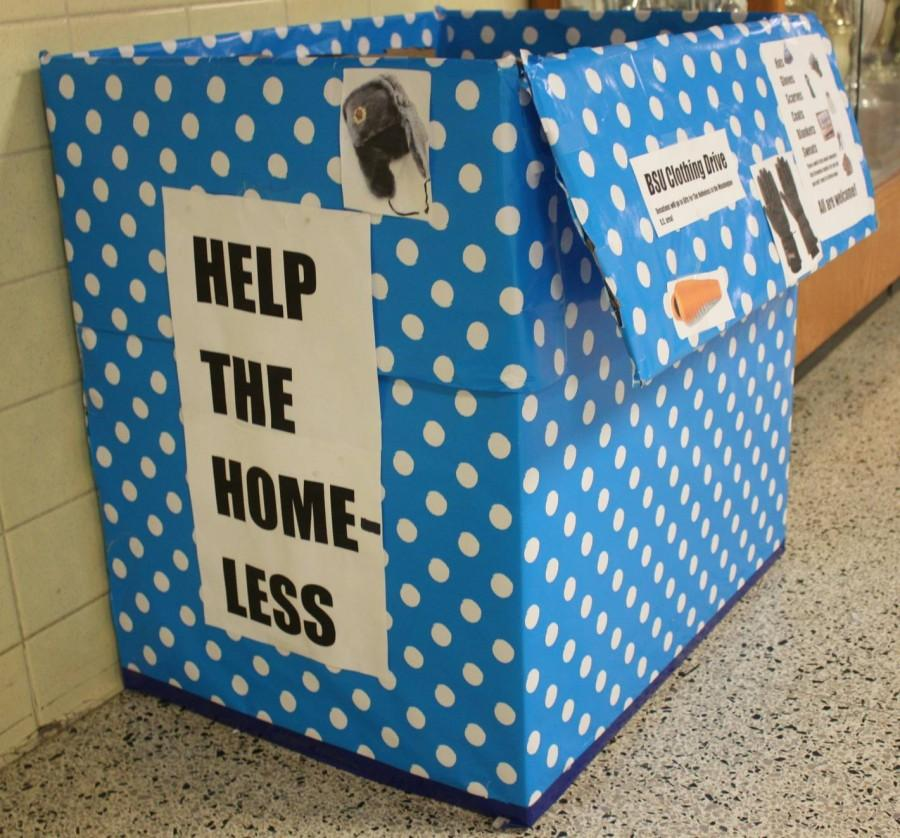 Students can drop off clothes for the drive in the clothing bin located in the audlob. BSU is accepting any type of clothing, and encourages everyone to donate by Dec. 11.