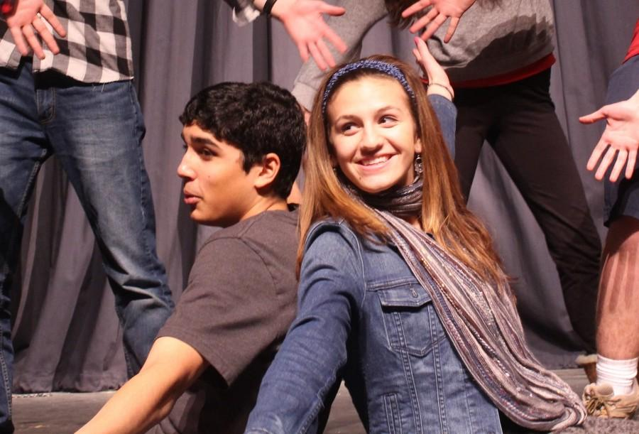 Junior+Aaryan+Balu+and+senior+Sophia+Martinese+rehearse+the+opening+scene+of+The+Little+Mermaid%27s+second+act+after+school.+