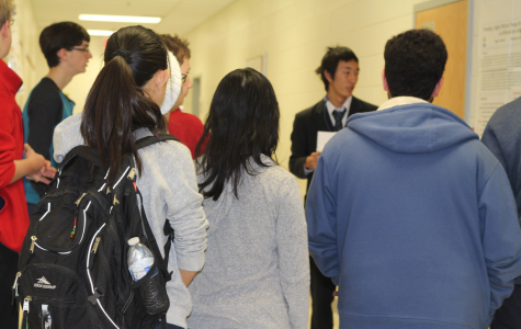 Jefferson students listen to a Japanese exchange student present a research experiment. Japanese exchange students gave presentations all through eighth period on Jan. 6th in the Curie Commons.