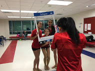 Sophomores Cat Nguyen, Katie Zhang, and Sahana Aiyer (from left to right) get their picture taken by Emma Zhang in the dance team's instagram frame.
